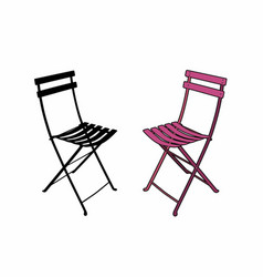 Pink garden chair vector