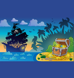 Pirate theme with treasure chest 5 vector