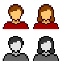 Pixel male female avatar icons vector