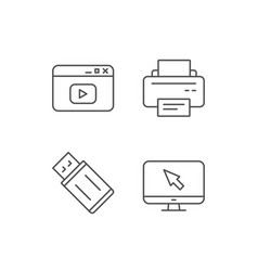 Printer usb flash drive and monitor icons vector