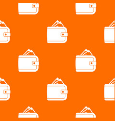 Purse with money pattern seamless vector
