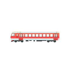 Red passenger train locomotive railway carriage vector