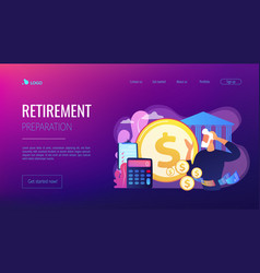 Retirement preparation concept landing page vector
