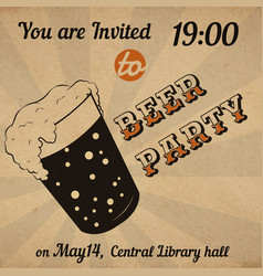 Retro beer glass invitation card vector