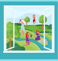 River with woman character at cartoon window vector