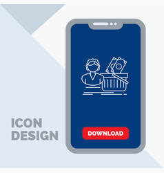 salary shopping basket shopping female line icon vector image