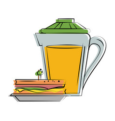 sandwich with orange juice food related image vector image