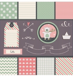 Scrapbook Design Elements teddy bear and seamless vector