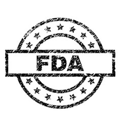 Scratched textured fda stamp seal vector