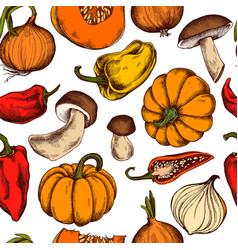 seamless pattern of onions mushrooms vector image