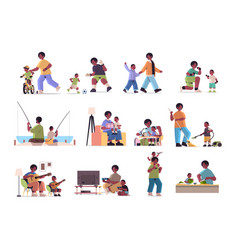 Set father spending time with little son parenting vector