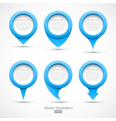 Set of blue circle pointers 3D vector