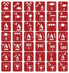 Set of campfire coocking iconss vector