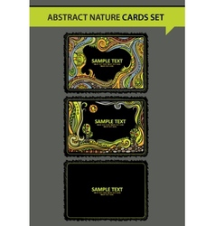 Set of fantasy decorative nature cards vector