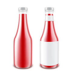 Set of glass tomato ketchup bottle for branding vector