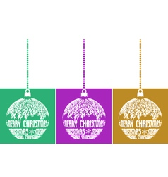 set of three christmas balls vector image