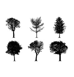 silhouette tree set vector image