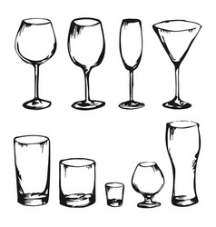 sketch of drink glasses vector image