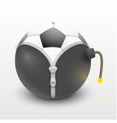 soccer ball inside a burning bomb vector image vector image