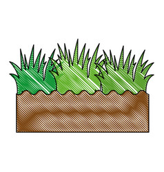 Soil and grass icon vector