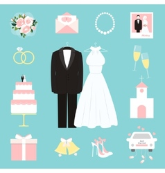 Suit and gown surrounded wedding icons vector