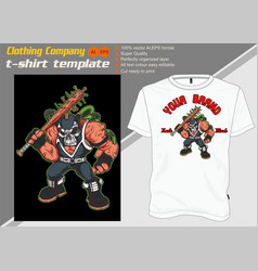 T-shirt template fully editable with skull mask vector