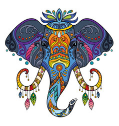 Tangle african elephant colorful isolated vector