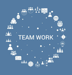 Team work icon set infographic template vector