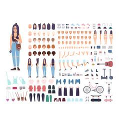Teenage girl constructor or animation kit set vector