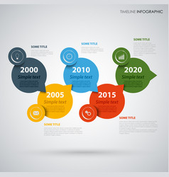 Time line info graphic with colored round design vector