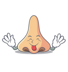 Tongue out nose mascot cartoon style vector