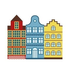 Traditional old buildings Amsterdam house vector