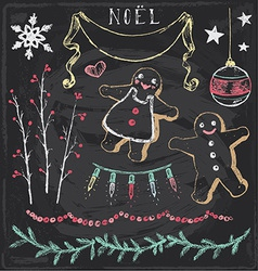 Vintage Christmas Chalkboard Hand Drawn Set 6 vector image
