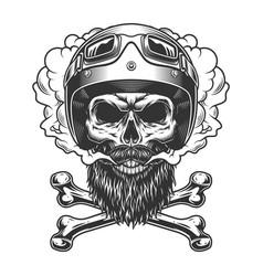 vintage monochrome motorcyclist skull vector image