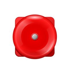 vintage red wall ball fire alarm - retro siren vector image