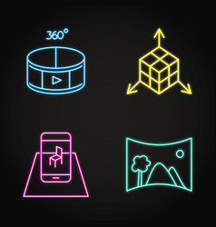virtual reality concept icon set in neon line vector image