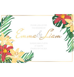 Wedding invite template tropical flowers leaves vector