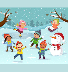 winter outdoor activities with kids and snowman vector image