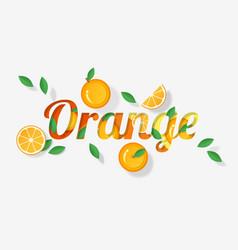 Word orange design in paper art style vector