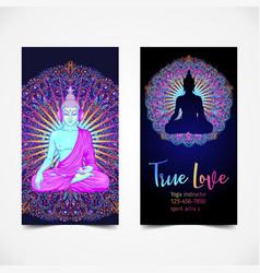 Yoga card flyer poster mat design colorful vector