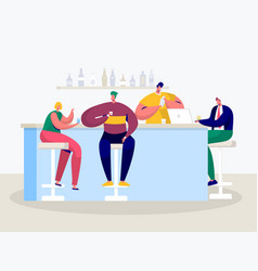 young man woman drink in bar businessman vector image