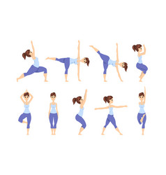 young woman in different asanas poses set girl vector image