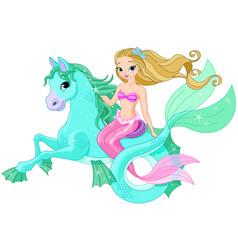 beautiful mermaid riding sea horse vector image