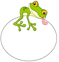 Cartoon frog with big egg vector image