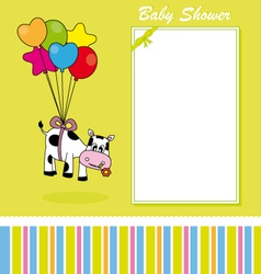 cow with balloons vector image vector image