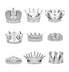 Crown Sketch Icon Set vector image