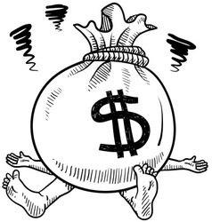 doodle squish money bag vector image