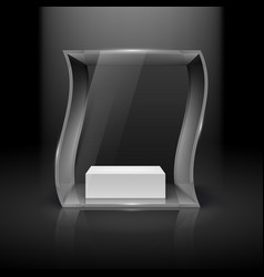 Glass showcase in wave form with spot light for vector