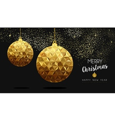 Gold Christmas and New Year low poly bauble vector image vector image