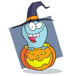 Happy Blue Ghost In A Carved Halloween Pumpkin vector image